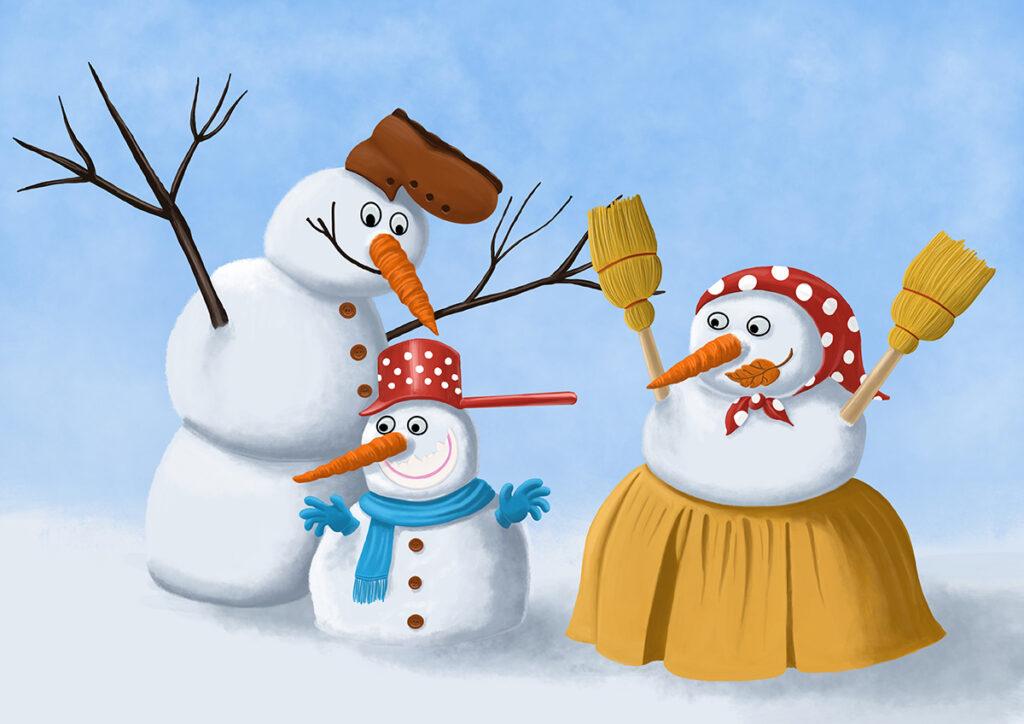 Snowmen - illustration by Mihai, The Illustration Guy